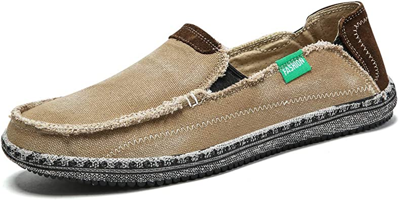 Amazon.com | Men's Slip On Deck Shoes Wide Width Casual Vintage Canvas  Cloth Sneakers Penny Loafers Flats Boat Shoes | Loafers & Slip-Ons