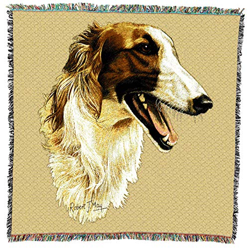 Pure Country Weavers - Borzoi Woven Throw Blanket with Fringe Cotton. USA Size 54x54