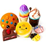 SYYISA Jumbo Squishies Slow Rising [7-Pack]: Cake, Ice Cream, Bread, Chocolate Cookie, Chocolate Frappuccino, and Waffles Kaw