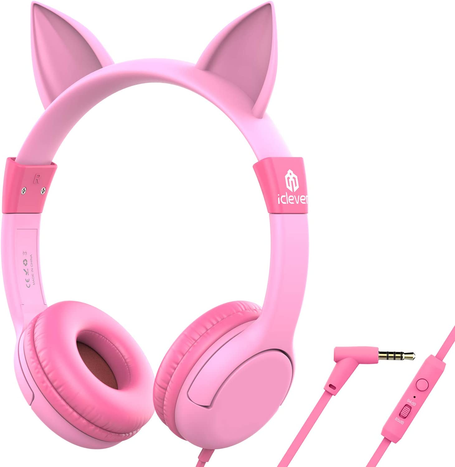 [Upgrade]iClever Boostcare Kids Headphones Girls - Cat Ear Hello Kitty Wired Headphones for Kids on Ear, Adjustable 85/94dB Volume Control - Toddler Headphones with MIC for School Tablet, Pink
