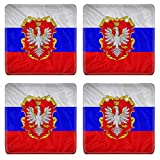 Liili Natural Rubber Square Coasters IMAGE ID 32051724 Grand Duchy of Poland flag pattern on the fabric texture vintage style