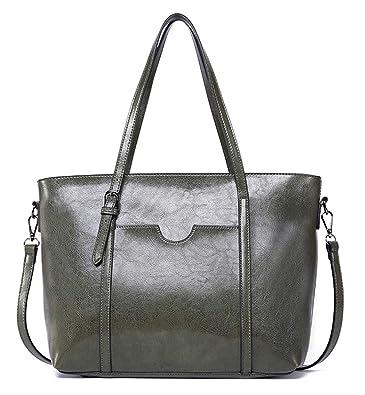 Amazon.com  Dreubea Women s Soft Leather Handbag Big Capacity Tote Shoulder  Crossbody Bag Upgraded Army Green  Shoes bb6ebf463d0e5