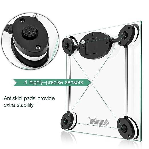 Tanburo Báscula Digital para Baño, Alta Medición Precisa 180 kg, 28 ST/400 lb, con Gran Plataforma y LCD Digital, Vidrio Transparente, Peso Digital Escalas ...