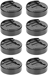 Yosooo 8 Pcs Adjustable Bed Furniture Risers,Black Round Plastic Bed Risers Mats Cabinet Table Feet Pad Furniture Legs Risers for Sofa, Table, and Chair