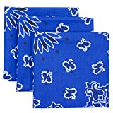 Blue Bandana 3-Pack - Made in USA For 70 Years - Sold by Vets – 100% Cotton –Sewn Edges – Printed Both Sides