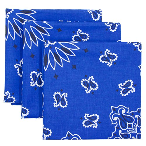 Blue Bandana 3-Pack - Made in USA For 70 Years - Sold by Vets – 100% Cotton –Sewn Edges – Printed Both Sides by OHSAY USA (Image #4)