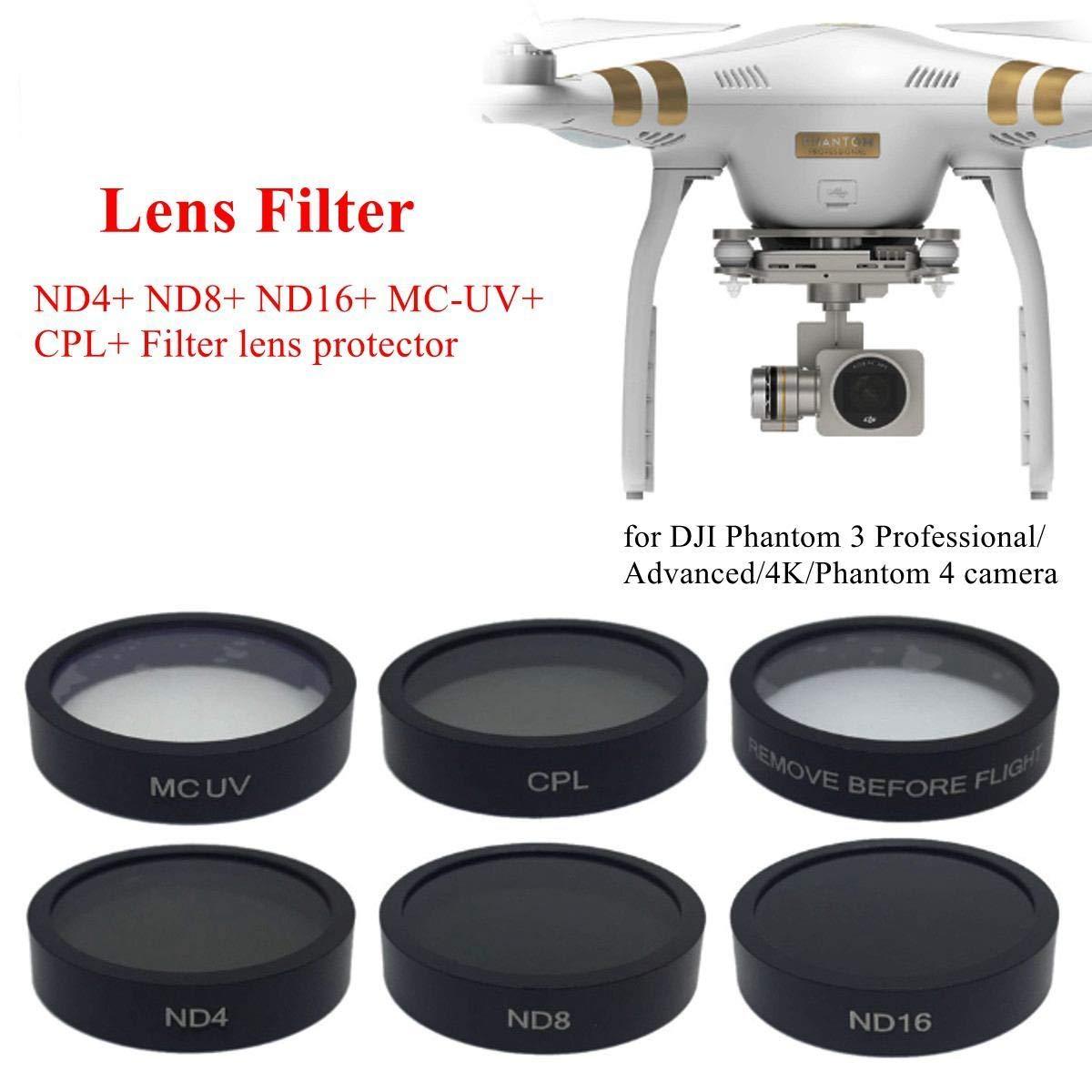 6pcs Camera Lens UV+CPL+ND4//8//16 Filter Protect for DJI Phantom 4//Phantom 3 Pro//Advanced RC438