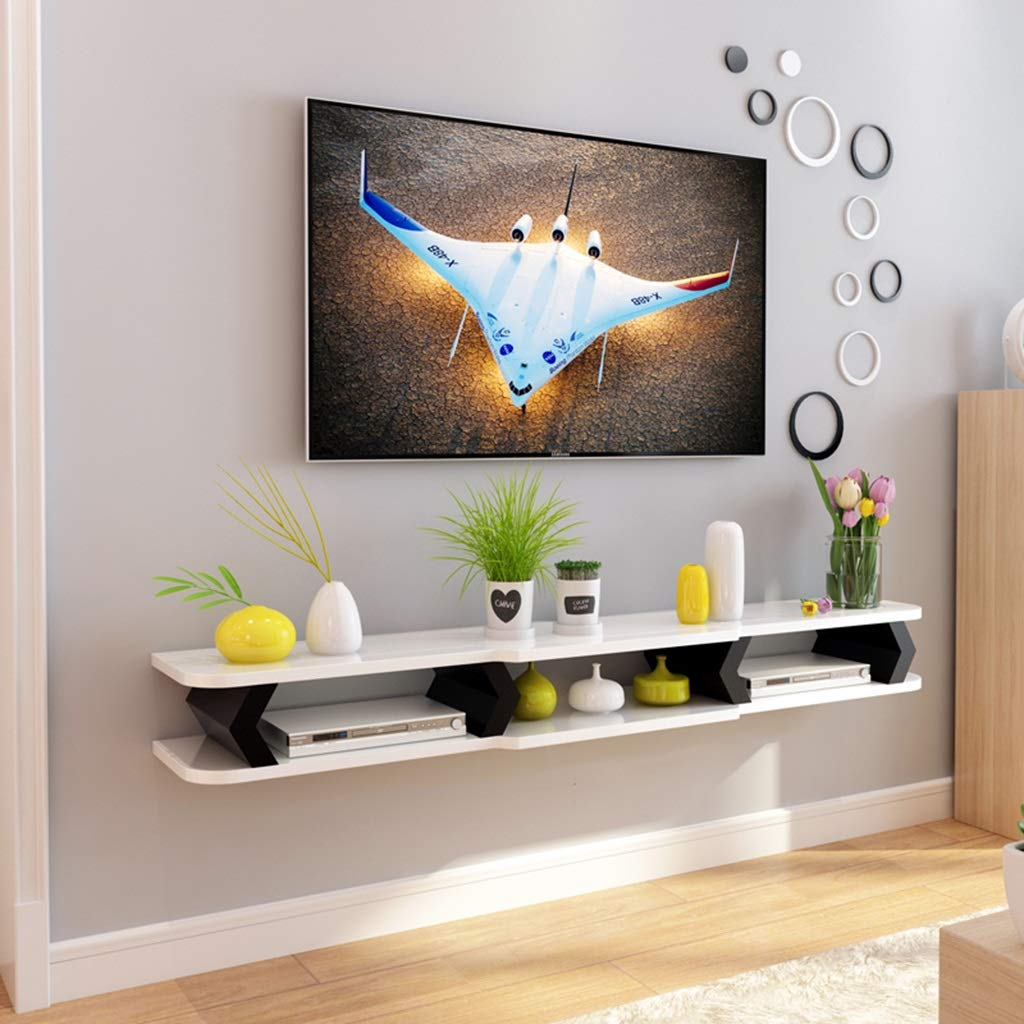 Floating Shelf Floating Shelf Wall Mount TV Cabinet Wall Background Storage Shelf for DVD/Blu-Ray Players Satellite TV Box Cable Box (Color : B, Size : 110CM)