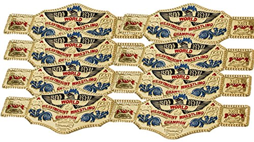 8 piece World Wrestling Champ Gold Kids Plastic Party Belts by WWE