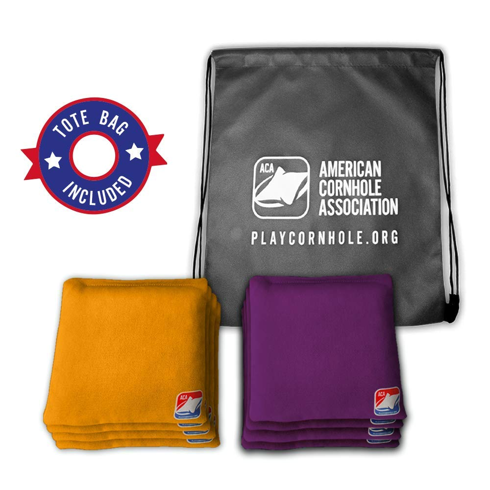 Official Cornhole Bags from The American Cornhole Association - 6'' Double-Stitched Corn-Filled Bean Bags for Corn Hole Outdoor Game - Regulation Size - Gold & Purple