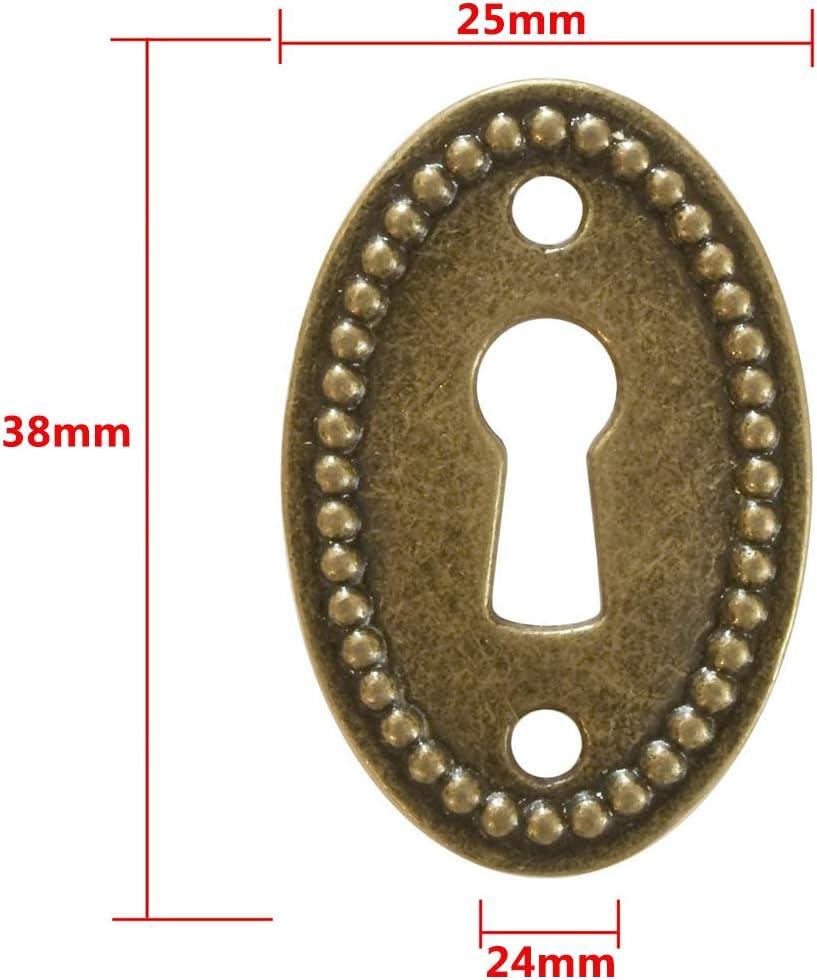 Schl/üsselloch Rosette in Messing patiniert Messing Design inklusive Schrauben Antike Ovale Schl/üssel-Schilder BESTZY 20er Schloss-Rosetten Schloss-Beschl/äge 38 mm x 25 mm