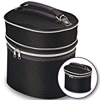 Black Wig Travel Carrying Case - Lightweight and Portable Travelling Box - Zipper Top, Double Stitching - by Adolfo Design