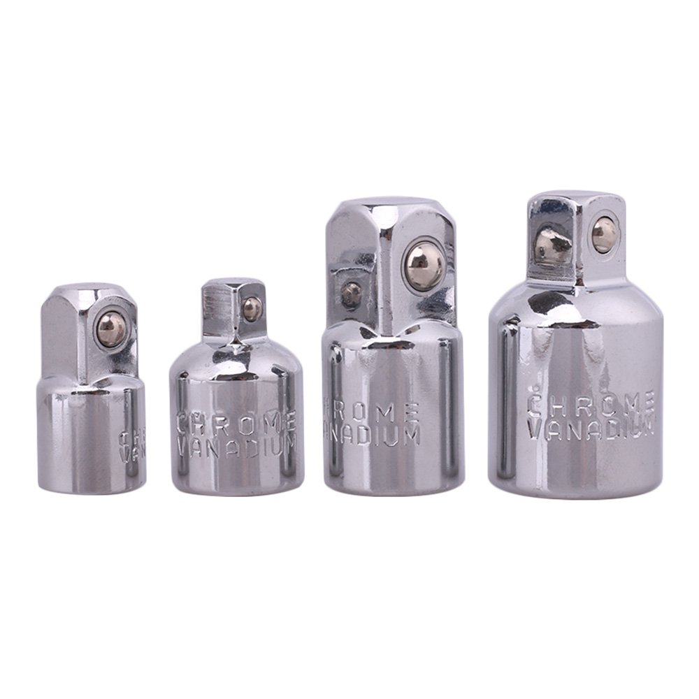 4 Pcs Impact Adapter And Reducer Set Included 3/8 To 1/4 1/2 To 3/8 3/8 To 1/2 And 1/4 To 3/8 Inch Drive Use With Impact Wrenches And Drills In Auto And Construction Work