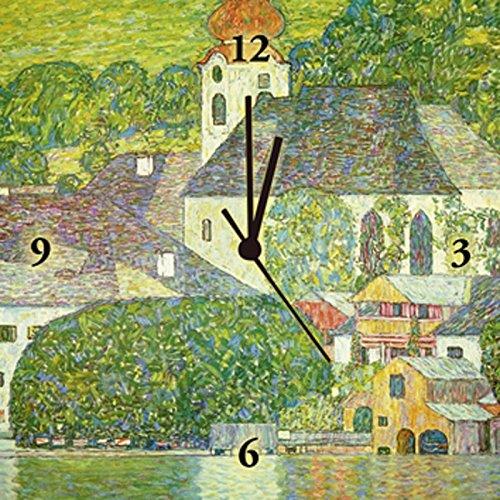 Artland Analoge Wand-Funk-oder Quarz-Uhr Digital-Druck Leinwand auf Holz-Rahmen gespannt mit Motiv Gustav Klimt Kirche in Unterach am Attersee. (D.198). Um 1916 Architektur Gebäude Malerei Grün A2GN