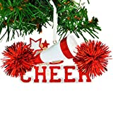 Personalized Cheer Christmas Ornament for Tree 2018 - Red Cheerleader Megaphone Star with Real Pompom - Competition Girl Team Dancer High School Loud Proud Holiday - Free Customization by Elves