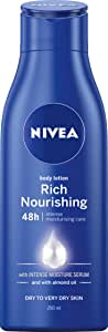 NIVEA Rich Nourishing Moisturising Body Lotion & Moisturiser with Intensive Moisture Serum & Almond Oil for Dry to Very Dry Skin, 250ml