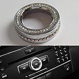 Angelguoguo Car Volume Control Button Knob Decoration Cover sticker Fit for Mercedes Benz A Class B Class E Class GLK GLA CLA GLE ML GL ( Silver Style)