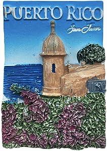 3D Puerto Rico San Juan Refrigerator Magnet Resin Travel Souvenirs,Handmade Home & Kitchen Decoration Puerto Rico Fridge Magnet Collection Gift