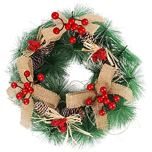 HAKACC Christmas Wreath,12 Inches Christmas Berries Wreath with Red Berries, Pine Cones, Artificial Christmas Wreath for Front Door,Walls, Fireplaces and Christmas Tree Decor