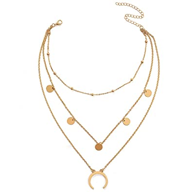 2f1c5be75 Wowanoo Layered Chain Choker Necklace Moon Sequins Pendant Chain Jewelry  for Girls Women GoldS