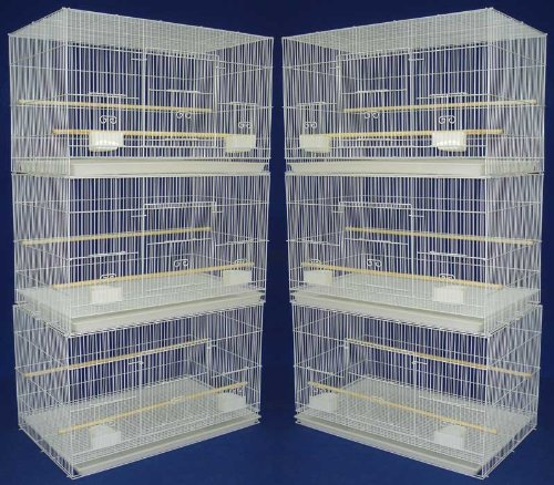 Lot of 6 Aviary Breeding Bird Finch Parakeet Finch Flight Cage 24'' x 16'' x 16'' White by Mcage