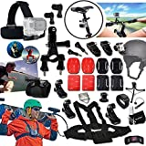 Xtech® In-Motion SPORTS Mounts ACCESSORIES Kit for GOPRO HERO4 Session, HERO4 HERO 4 3+ 3 2 1 Hero4 Hero3 Hero2, Hero 4 Black, Hero 4 Silver, Hero 3 White, Hero 3 Black, Hero 3 Silver, Hero 960, Surf HERO Includes: Bike Handlebar Mount + Head Strap Mount + Chest Strap Mount + 2 J-Hooks + Helmet Harness Mount + Camera Wrist Mount + 2 Flat Adhesive Stickers + Flat Surface Mounts + 2 Curved Adhesive Stickers + Curved Surface Mounts + Remote Control Wrist Strap + Assorted Clips and Mounts
