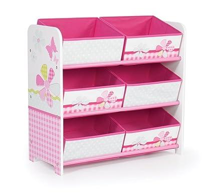Schmetterlinge und Blumen - Regal zur Spielzeugaufbewahrung mit sechs Kisten für Kinder