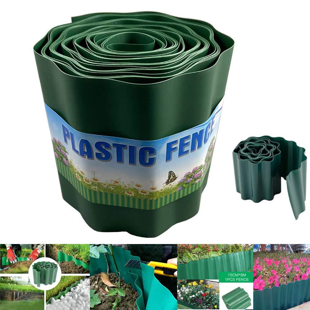 Lawn Edging Made of Plastic,1 Roll 15cm9m Plastic Grass Stop Gardening Green Flexible PVC Garden Lawn Edging DIY OutdoorsGarden Fence Flexible Garden Lawn Grass Edge