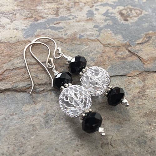 Silver Artisan Filigree Earrings - Silver Filigree and Black Earrings, 1.75 inches