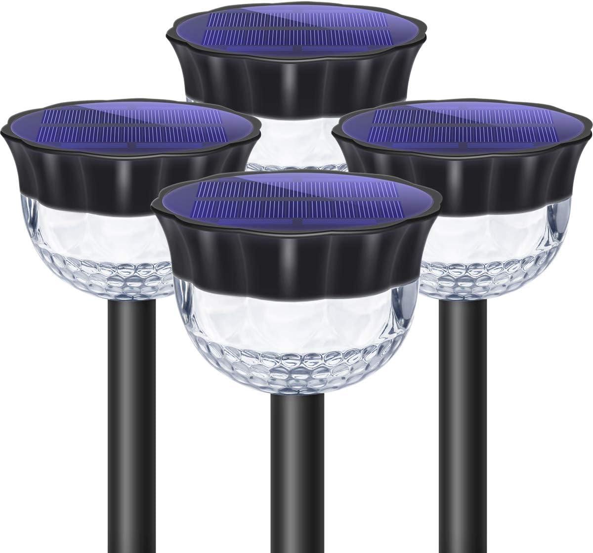 Solar Pathway Light Waterproof, Big Solar Charging Panel, Outdoor Solar Powered Garden Lights, 18 LEDs, Warm White Dock Light for Lawn, Yard, Walkway, Driveway, 4 Pack