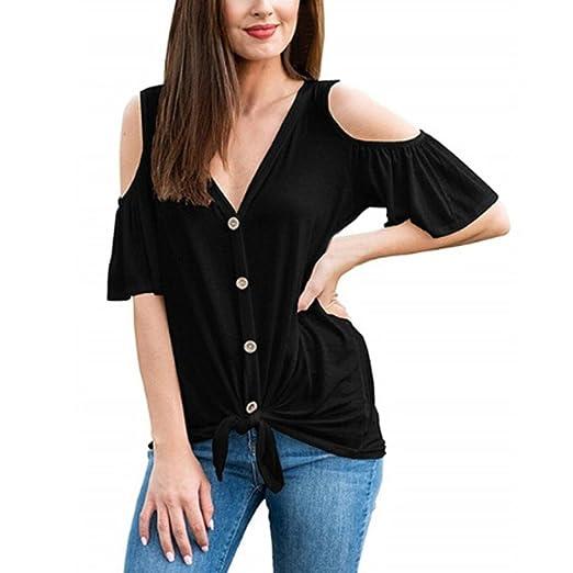 af2855c91ac9 Rambling New Women Loose Cold Shoulder Short Sleeve Knit Blouse ...