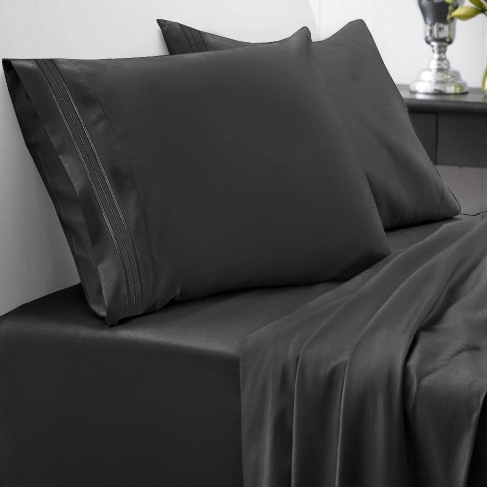 Sweet Home Collection 1800 Thread Count Bed Sheet Set Egyptian Quality Brushed Microfiber 5 Piece Deep Pocket, Split King, Black