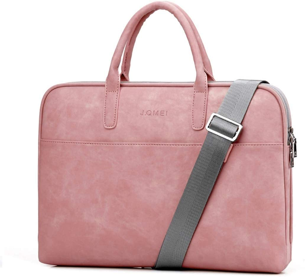 Matilda520 Pu Leather Computer Bag 14-inch 15.6-inch Waterproof and Shockproof Notebook Business Bag Color : Plush Version Soft Pink, Size : 15.6 inches