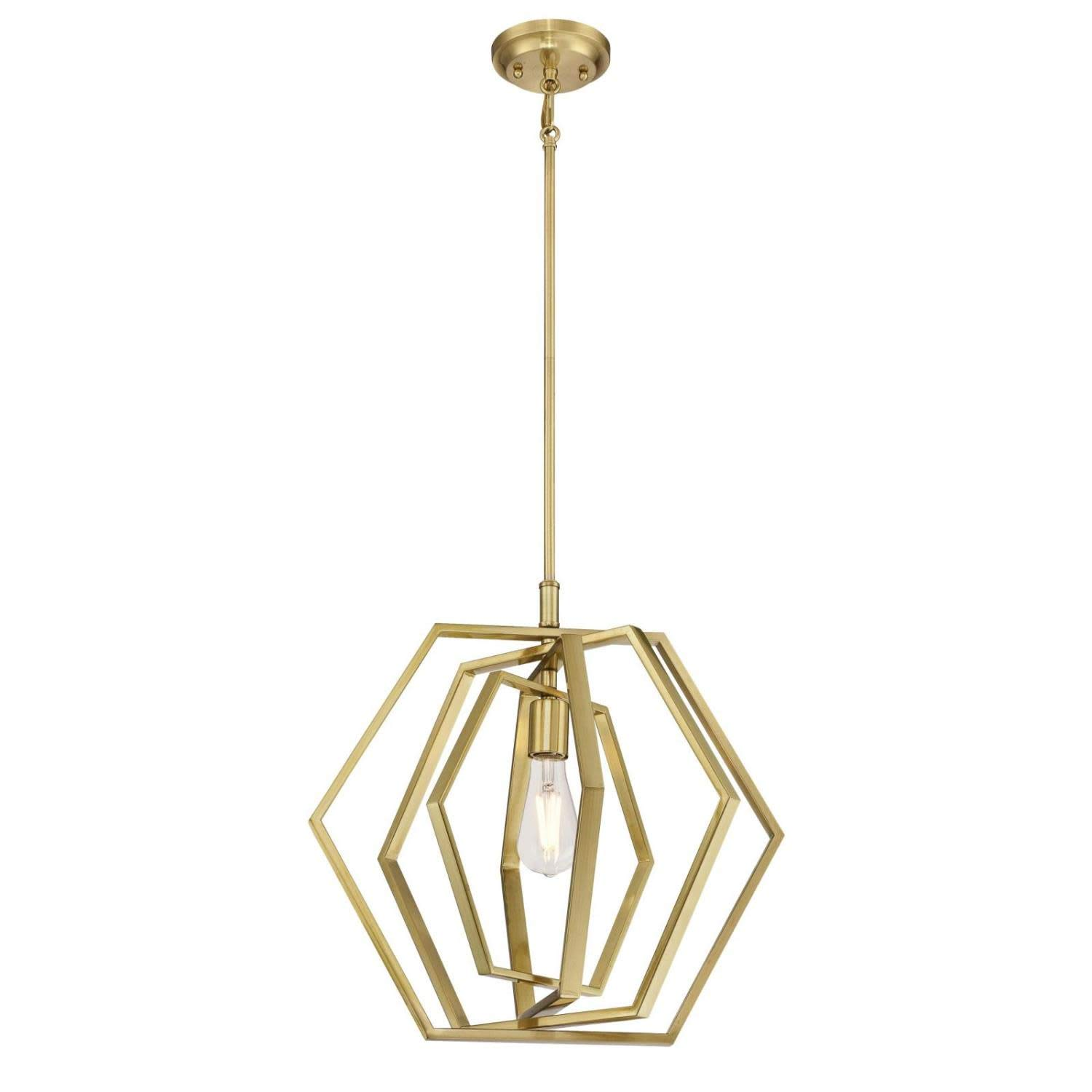 Westinghouse  6351200 One-Light Indoor Pendant, Champagne Brass Finish