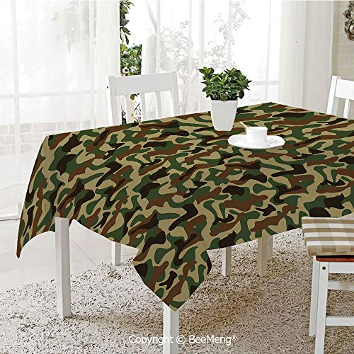BeeMeng Large dustproof Waterproof Tablecloth,Family Table Decoration,Camouflage,Military Squad Unit Uniform Design with Vivid Color Scheme Hunting Camo,Green Brown Khaki,70 x 104 inches
