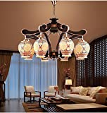 Chinese ceramic lamp chandeliers living room lamp wrought iron retro restaurant chandeliers hotel restaurant ceramic lamp lu122309py ( Color : 8 head )