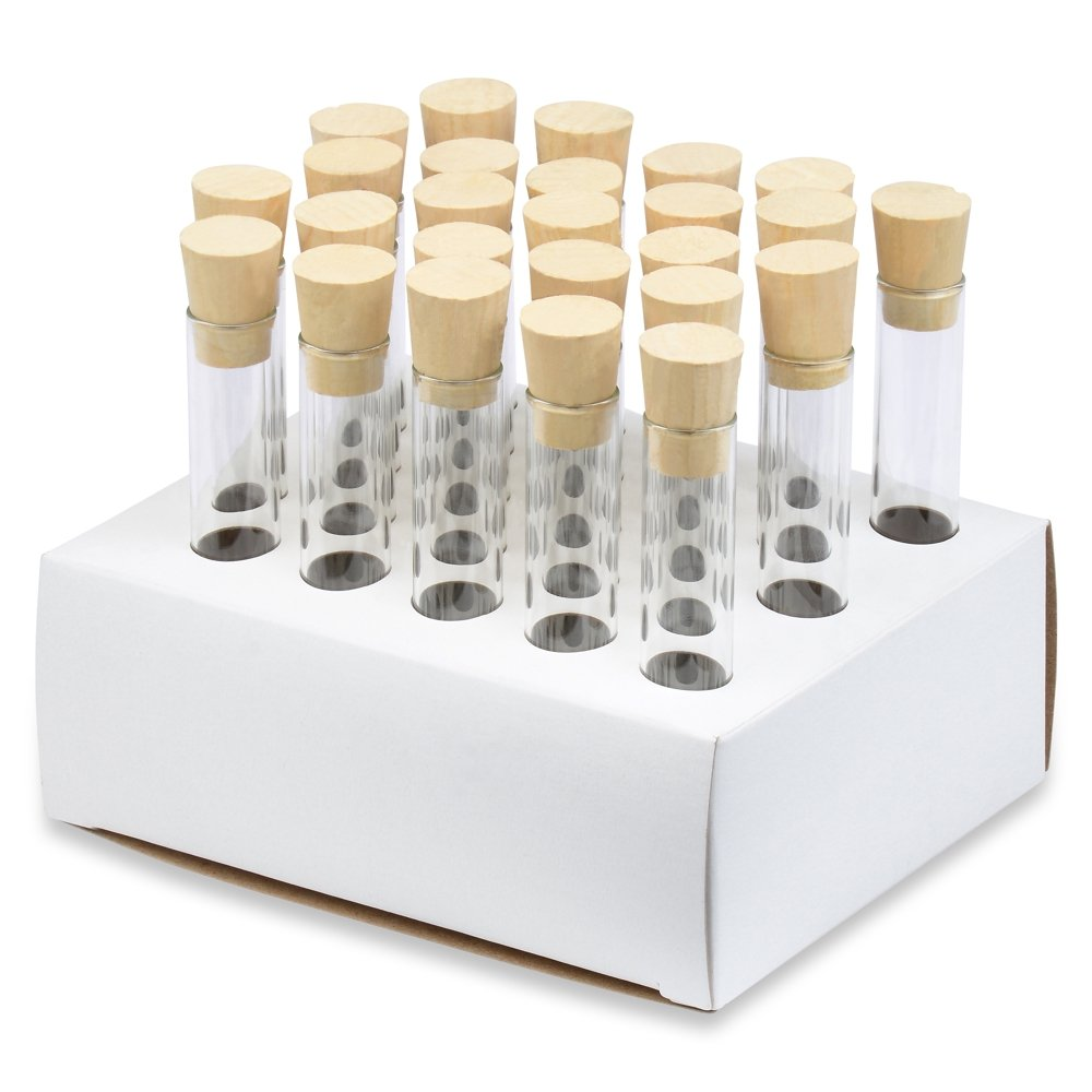 16x100mm Test Tubes with Cork Stoppers and Cardboard Rack, Borosilicate Glass, Round Btm, 10ml Vol, Karter Scientific 220F6 (Pack of 25)