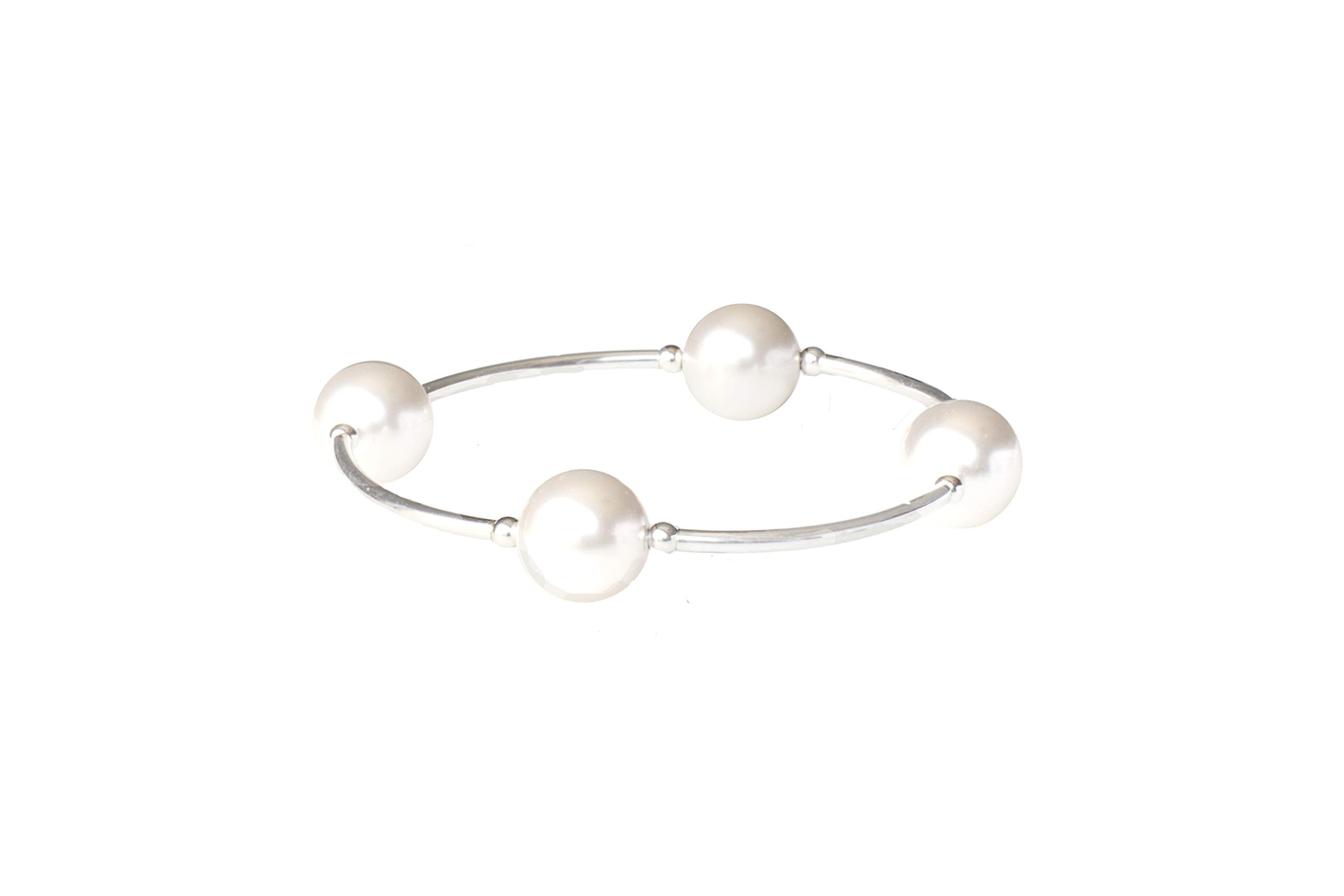 Blessing Bracelet by Made As Intended - 12MM White Swarovski Simulated Pearls