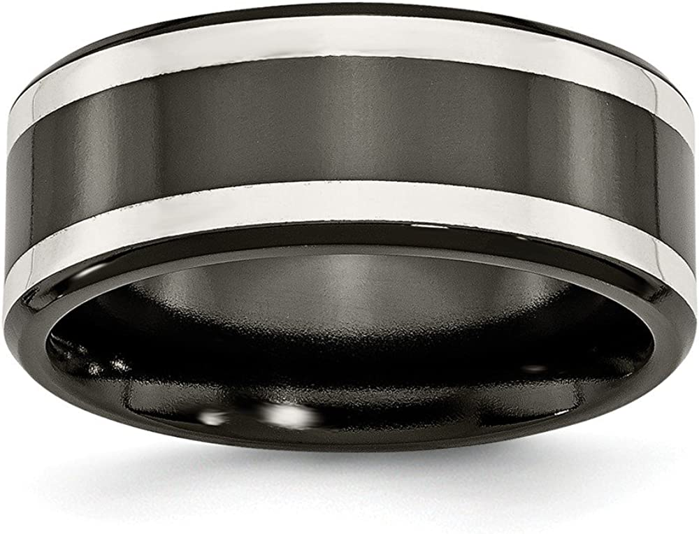 Titanium Black Ti with Sterling Silver Inlay 9mm Polished Flat Band Size 13 Length Width 9