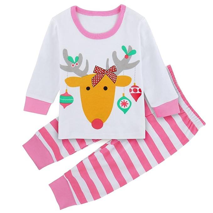 Mombebe Niños Niñas Reno Navidad Conjunto De Pijamas Ropa De Dormir (Rosado, 2 años