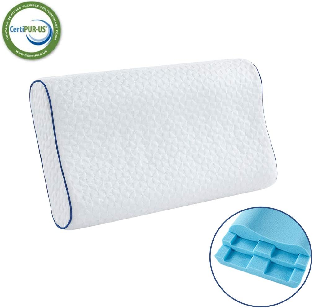 HOMBYS Memory Foam Pillow Cooling Gel Memory Foam Pillow, Neck Pillow, Cervical Pillow, Orthopedic Sleeping Pillows, Adjustable High Support Bed Pillows with Cover(23.6 x 13.8 x 4.7 inches, 1 Pack)