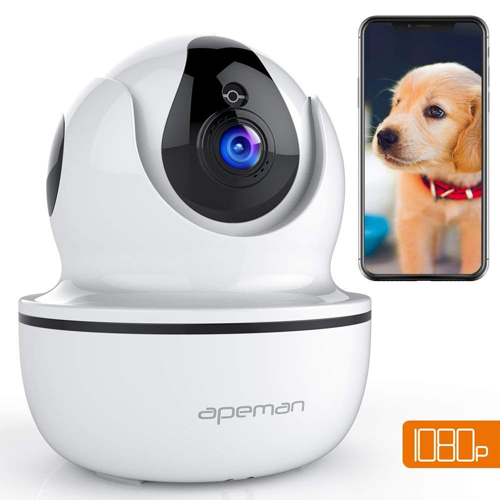 APEMAN 1080P IP WiFi Camera Wireless Home Security Camera with Night Vision Surveillance CCTV Camera Baby Pet Monitor Support 128GB Micro SD Card Motion Detection Pan/Tilt/Zoom