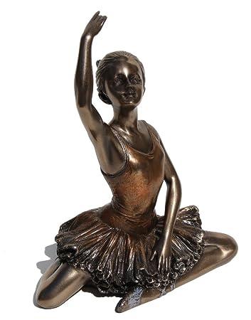 5.13 Inch Ballerina – Warming Up Cold Cast Bronzed Figurine