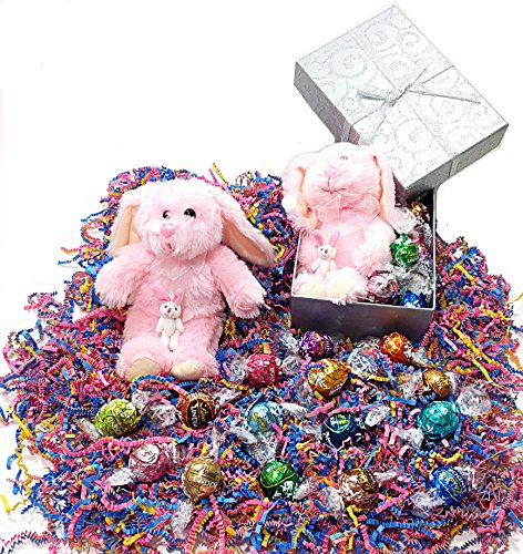 Easter Basket Gift Box - Lindt Lindor Gourmet Truffles Chocolate Candy & Stuffed Animal - Pink Bunny Rabbit