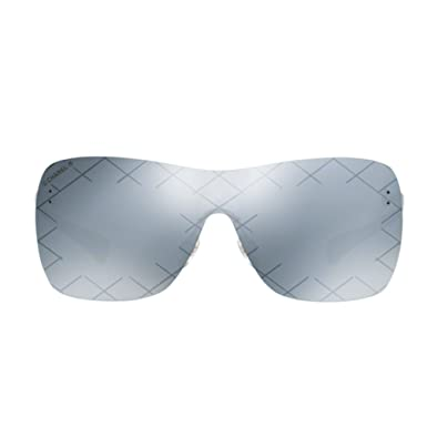 901a313074 CHANEL Ladies Runway Shield Rimless Sunglasses With Grey Mirror Lenses   Amazon.co.uk  Clothing
