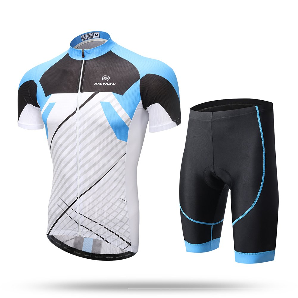 DuShow His-and -Hers Lovers Outfit Short Sleeve Bike Bicycle Cycling Jersey Top and 3D Padded Shorts Tight Set Blue-Men) 3.29-Blue-xxxl