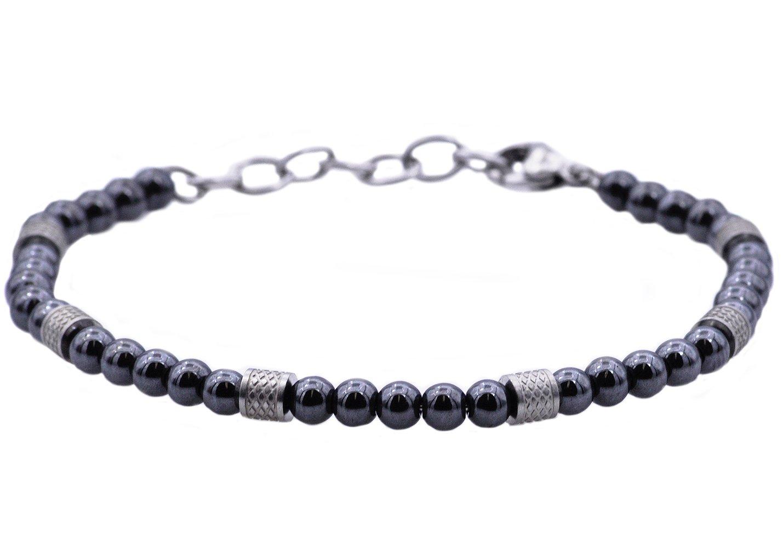 Blackjack Jewelry Men's Women's Unisex Genuine Semi Precious Stone Stainless Steel 5mm Bead Bracelet with Adjustable Lobster Clasp 7.5'' - 8.5'' (Gray (Hematite))