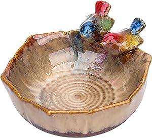 BAODAN Bird Feeder Bowl,Ceramic Bird Food Bowl,Outdoor Garden Ornament Bird Bath Bowl, Bird Feeder Bowl for Family, Friends