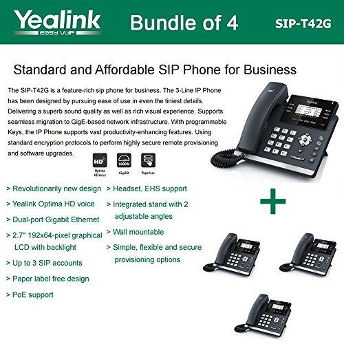Yealink SIP-T42G - Bundle of 4 Gigabit Color IP Phone 6 Line Keys with LED Wall Mountable ()