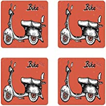 Vintage Coaster Set of Four by Ambesonne, Retro Scooter Sign for Bike Bicycle Rent Classic Grunge Illustration Artwork, Square Hardboard Gloss Coasters for Drinks, Red Black White